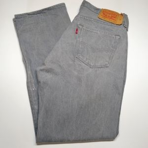 Levi's 501 gray button fly jeans, 36x34